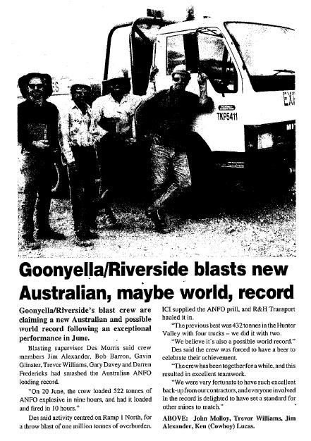 1994 Goonyella Riverside Blast Record